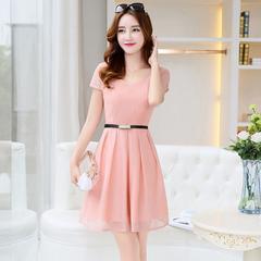 晨蝶夏季新款修身显瘦时尚职业中长款雪纺连衣裙