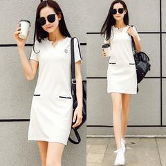 夏天大码女装时尚优雅气质休闲连衣裙韩国修身显瘦洋气性感裙子潮