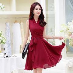 夏装新款韩版中长款V领气质淑女精致雪纺连衣裙修身显瘦A字裙女