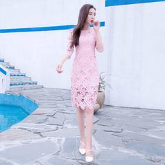 2016夏季新款女装韩版性感修身显瘦a字镂空蕾丝连衣裙中长款裙子