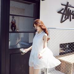 西西小可2016夏季新款学院风白色无袖连衣裙夏小清新短裙潮